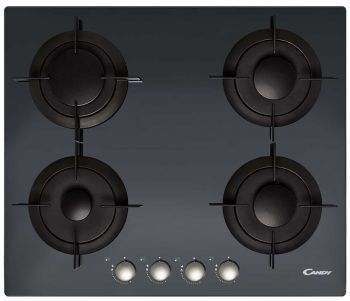Candy Built-in Black Crystal Glass Gas Hob 60 cm