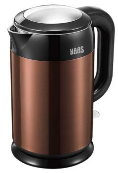 HAAS Electric Kettle, 1.7Ltrs, Brown