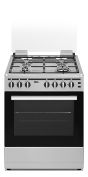 HAAS Gas Cooker, 60x60, 4Burners, Stainless steel with sides grey - HC660T